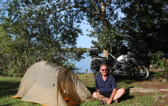 Iron Roamer, Brian Thiessen, tenting at the KOA campsite in St. Petersburg Florida.