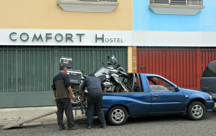 My BMW 1200 GS loaded onto a small truck on its way to Bavaria Motors in Guatemala City for repairs.