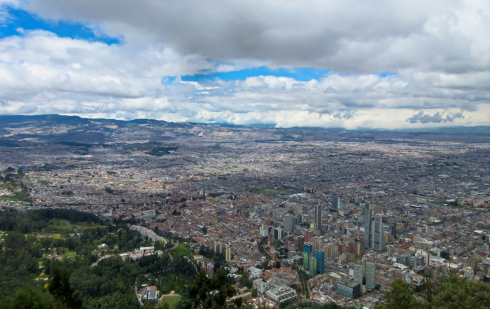 Iron Roamer, Brian Thiessen, on Monserrate looking down over the city of Bogota.