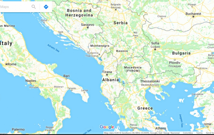 Iron Roamer, Brian Thiessen is going to Albania as pictured on this map of Eastern Europe.