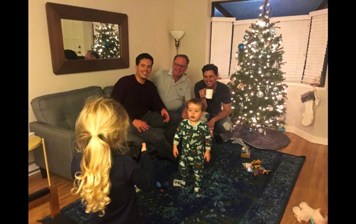 Iron Roamer, Brian Thiessen, pictured at Christmas with his family.